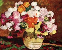 Vase with Chrysanthemums : Stefan Luchian : Impressionism : still life - Oil Painting Reproductions Flower Images, Flower Art, Famous Flower Paintings, Still Life Oil Painting, Art Database, Country Art, Oil Painting Reproductions, Art Nouveau, Art Gallery