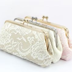 New this wedding season: these dainty peony paisley lace bridal clutches can all be turned into photo clutches. Perfect gift for the bride and the moms!