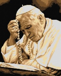 Schemat Jan Paweł II - Kokardka - sklep internetowy - haft krzyżykowy, szydełkowanie, włóczki, robótki na drutach, kanwy, filcowanie, decoupage, robótki ręczne.