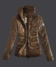 Design Womens Moncler Down Jacket Stand Collar in Coffee [2781846] - £199.03 :