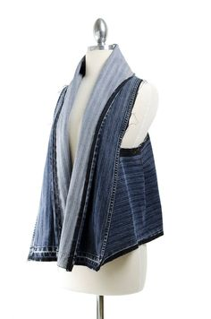 Reconstructed Striped Denim Scarf Vest by ReMadeInLA on Etsy,
