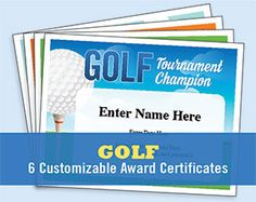 Free printable golf awards and certificates that can be customized golf certificates templates yadclub Choice Image