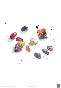 Art Print - Jelly Beans - Kitchen Art - Illustration - Candies - Sweets - from Original Ink and Watercolour Illustration