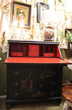 Awesome Vintage Black Chinese Style Drop Down Writing Desk Excellent Condition On Wheels