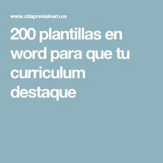 200 plantillas en word para que tu curriculum destaque