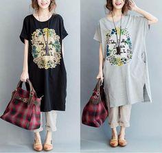 Vintage print summer loose cotton t-shirt- dress Vintage Prints, Shirt Dress, T Shirt, Style Inspiration, Summer, Cotton, Collection, Dresses, Fashion