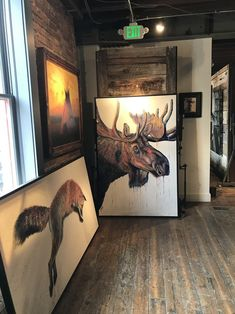 """Velvet Moose"" Original Acrylic Painting on Canvas Painting Available through Park City Fine Art (Park City, UT) Photo taken Sep 2017 Wildlife Paintings, Animal Paintings, Painting Gallery, Art Gallery, Bull Moose, Fine Art Prints, Canvas Prints, Cute Little Things, Acrylic Painting Canvas"