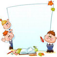 Cartoon school children with blank paper vector 06