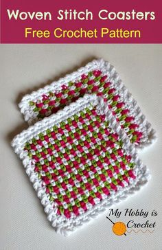 Learn how to work the tricolor woven stitch (known also as the moss stitch or linen stitch) with these cheerful coasters! All Free Crochet, Crochet Home, Crochet Crafts, Crochet Projects, Crochet Kitchen, Crochet Blocks, Crochet Squares, Crochet Motif, Knit Crochet