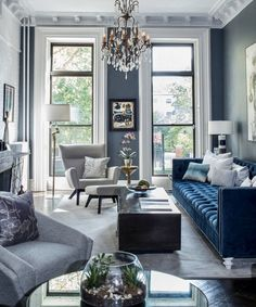 Blue Velvet Sofa Living Room, Blue Living Room Decor, Glam Living Room, Living Room Sofa, Blue Living Room Furniture, Space Furniture, Living Room Ideas Grey And Blue, Grey Living Room Inspiration, Living Room With Grey Sofa