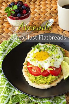 A unique, fresh and delicious breakfast or brunch recipe, actually it's fabulous any time of the day!!  Avocado Breakfast Flatbreads