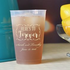 14 oz frosted plastic cups printed with RHD07 design, Stylish lettering style, and Ivory imprint color