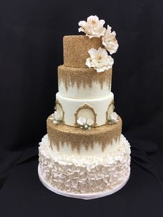 Wedding Cake with Ruffles and Gold Sugar