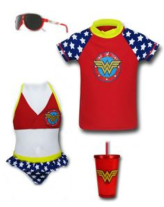 "FOR THE BEACH: ""Wonder Woman"" girls Outfit by Mary Huth Rash Guard: http://www.superherostuff.com/wonder-woman/swimwear/wonder-woman-girls-rash-guard-swim-shirt.html?itemcd=swmwwshldshrt Water bottle: http://www.superherostuff.com/wonder-woman/mugs-and-steins/wonder-woman-symbol-red-acrylic-cold-cup-wlid.html?itemcd=cupwwsymrd Shades: http://www.crocs.com/crocs-kids-crocs-sunglasses-c011/32578,default,pd.html"