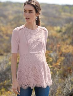 Beautiful lace maternity top | A Pea in the Pod Lace Peplum Maternity Top | maternity fashion | maternity shirt | maternity clothes | #ad