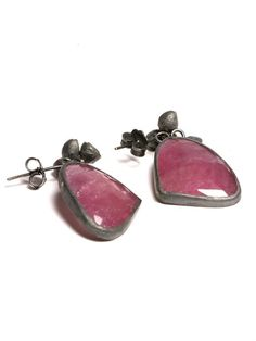 Jennie Gill X Nomad 44ct Pink Sapphire Oxidised Silver Brushed with 18ct Gold Earrings Made in UK  https://www.nomadatelier.co.uk/?location=category&id=3&section=8&product=63