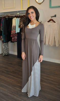 Dottie Couture Boutique - Striped Scoop Maxi- Mocha, $52.00 (http://www.dottiecouture.com/striped-scoop-maxi-mocha/)