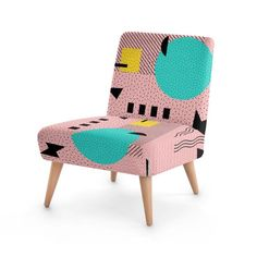 www.bagsoflove.co.uk/stores/silverpegasus, Buy Hello Memphis Peach Berry Occasional Accent Chair by SilverPegasus, furniture, home decor, interior design, occasional chair, accent chair, living room decor, bedroom decor, Memphis pattern, retro, 80s, 90s, trendy, stylish, peach, teal, turquoise, yellow, black, geometric, modern, unique, buy occasional chairs, best furniture ideas on Pinterest, #furniture #accentchair #occasionalchair #homedecor #interiordesign #Memphisdesign #trendy #retro