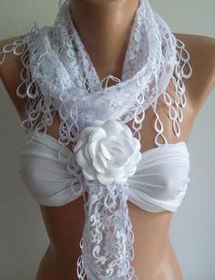 White -- Elegance  Shawl / Scarf with Lacy Edge  -- White Rose---