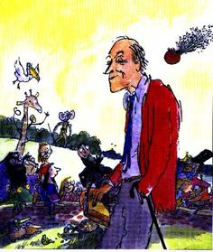 Roald Dahl, as sketched by Quentin Blake