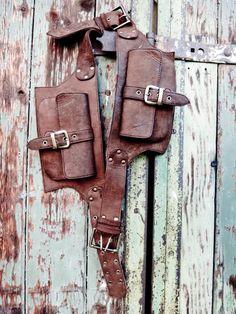 2 Pocket men's leather belt bag in brown, belt pouch, hip bag, utility belt, bum bag. $116.00, via Etsy.