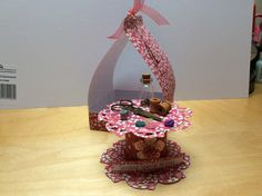 Decorated spool and box made with craftwork cards fab fabrics papers. Top decorated with sewing accessories