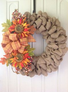 Fall burlap wreath  , thanksgiving, autumn,harvest , front door wreath on Etsy, $55.00