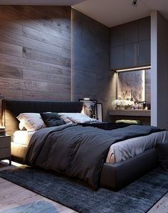 Inspirations Mens Bedroom Ideas - All Bedroom Design Men's Bedroom Design, Modern Bedroom Decor, Men Bedroom, Modern Mens Bedroom, Loft Style Bedroom, Industrial Bedroom Design, Bedroom Ideas, Simple Bedroom Design, Bedroom Rustic