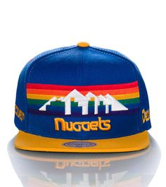 MITCHELL AND NESS MENS DENVER NUGGETS NBA SNAPBACK CAP Blue 2f914557b08a
