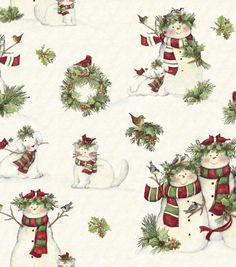 Holiday Inspirations Fabric-Susan Winget Snowmen & Pets & Holiday Fabric at Joann.com