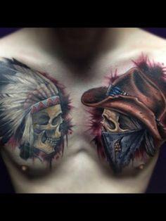 skull indian-cowboy tattoo