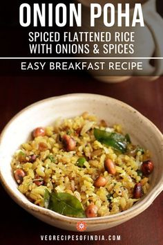Poha Recipe with step by step photos. Onion Poha is a popular Indian breakfast recipe made from red or white flattened rice, herbs and spices. Easy Breakfast Recipes Veg, South Indian Breakfast Recipes, Easy Healthy Breakfast, Veg Recipes Of India, Vegetable Recipes, Indian Food Recipes, Vegetarian Recipes, Healthy Recipes, Snack Recipes