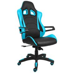 Devoko Gaming Chair Racing Style Bucket Seat Premium PU Leather Chair Swivel Executive Office Chair Lumbar Support Desk Chair (Blue)