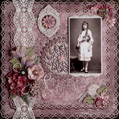 Helga at 14...a gorgeous violet background with punched borders, lace strips, buttons and flower clusters highlight a lovely vintage portrait.