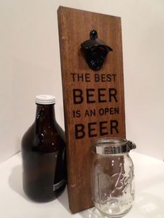 Personalized Wood Wall-Mounted Bottle Opener  by BlackardDesigns