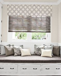 Wood #Blinds in 137573 Vintage/Ashen with Cordless Lift, Layered with Corner Pleat Valance in 13783 Open Work Embroidery/ Steel.