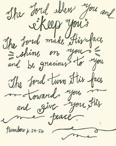The Lord Bless You  Keep You // Hand Lettered Art. $15.00, via Etsy.