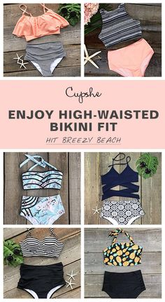 New High-waisted swimwear is certainly a staple in swimwear through out the whole summer beach season. As a mom, I love the idea of high waisted swimwear! Covers up that Momma belly but still looks chic Looks Chic, Looks Style, Style Me, Summer Wear, Summer Outfits, Cute Outfits, Cute Bathing Suits, Cute Swimsuits, Cupshe Swimsuits High Waist