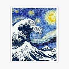 Great Wave off Kanagawa Starry Night Sticker by ind3finite