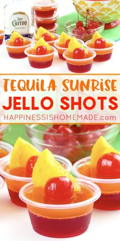 Tequila Sunrise Jello Shot Recipe Tequila Sunrise Jello Shot Recipe: These delicious tequila sunrise Jello shots are the perfect cocktail for backyard summer bbqs and pool parties! Get this yummy jello shot recipe and be the hit of the party this summer! Yummy Jello Shots, Best Jello Shots, Making Jello Shots, Jello Pudding Shots, Jello Shot Recipes, Alcohol Drink Recipes, Tequila Jello Shots, Alcohol Jello Shots, Recipe For Jello Shots