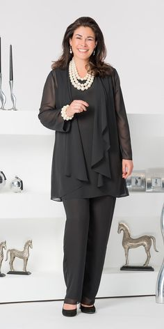 Veromia black chiffon jacket, vest and trouser