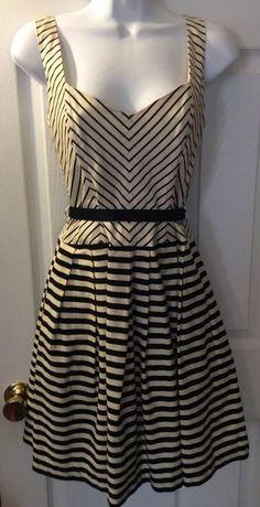 Anthropologie Corey Lynn Calter Monochromatic Corset Striped Dress Black IV Sz 4 | eBay