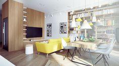 3 Contemporary Open Plan Home Design Has A Huge Shelving Unit Excerpt Modern. contemporary home ...