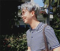nerdy, shy-looking but actually confident, specs-wearing, grey-hair-namjoon in the sun with a striped shirt, the cutest & dimpliest (i invented a new word for his dimples) smile and professor-like learherbag: A CONCEPT