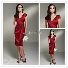Wholesale 2012 Sexy V Neck Sheath Prom Dresses Ruffle Short Red Mother of the Bride Dresses, Free shipping, $70.56-85.41/Piece | DHgate