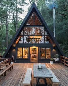 Perfect Diy A Frame Cabin Ideas Diy A Frame Cabin - This Perfect Diy A Frame Cabin Ideas wallpapers was upload on January, 3 2020 by admin. Here latest Diy A Frame Cabin design colle. Tiny House Cabin, Cabin Homes, Cabin Design, Tiny House Design, Wood House Design, Home Design, Style At Home, Triangle House, A Frame House Plans