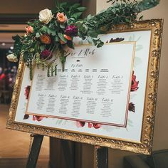 seating plan in a gold frame