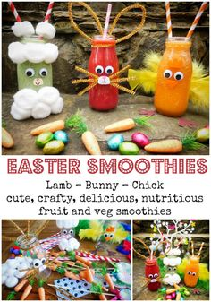 Easter craft and food combine in these oh so cute fruit and vegetable smoothies. Perfect for Easter breakfast or brunch and the ideal antidote to all those Chocolate Easter Eggs! Carrot Smoothie, Smoothie Mix, Fun Cocktails, Cocktail Recipes, Drinks, Happy Hour Party, Easter Lamb, Vegetable Smoothies, Cute Fruit