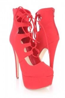 Red Lace Up Platform High Heels Nubuck Faux Leather
