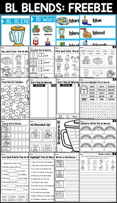 Blends Worksheets: This packet of worksheets will help your students practice and learn beginning blends BL words. The worksheets included in this packet can be used for small group intervention, literacy center ideas, independent practice, or for homework.